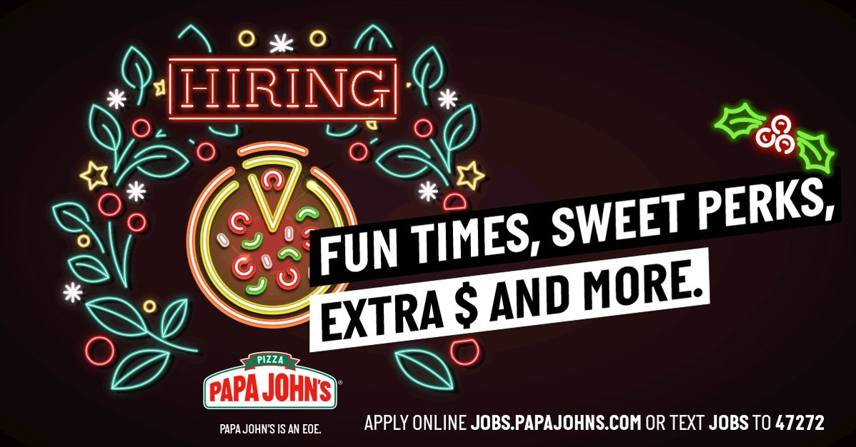 Cooking up smiles (& pizza) is only the beginning. Apply today at https://t.co/S88ENIy1s2 and experience the holidays the Papa John's way! https://t.co/PzdXNt3M1X