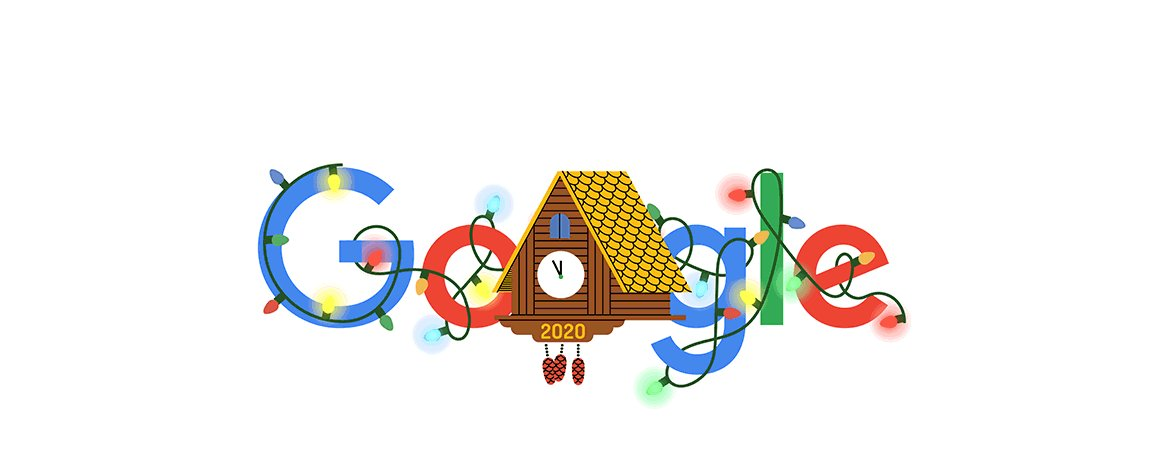 Happy New Year's Eve!   It's been a cuckoo year, but 2020's clock is ticking 🕰  The countdown begins now, & when the clock strikes midnight, a new year will spread its wings 🐦  #GoogleDoodle →