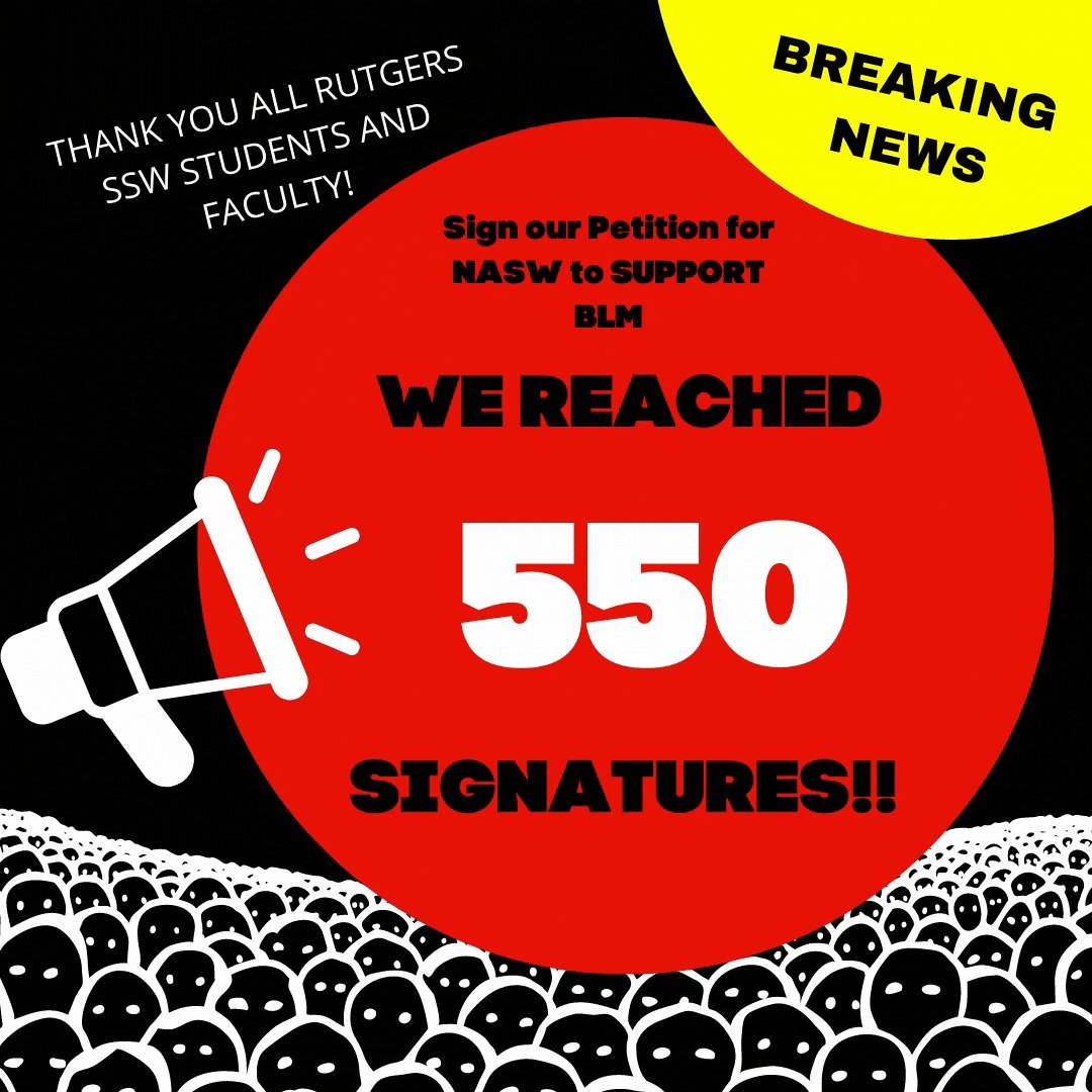 BREAKING NEWS! We have reached 550 signatures!!! LAST CALL to sign our petition today before it closes out tomorrow 1/1/2021.Thanks so much for all of your support #BlackLivesMatter #SpreadTheWord #socialwork #socialjustice  Sign our letter today: