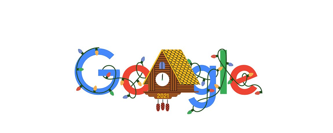 "The time has come to welcome the new 🕰 The clock strikes midnight & out comes the cuckoo! 🐦 ""All the best for the new year,"" 🗓 the cuckoo bird chirps for all to hear! 👂  Happy New Year's Day 🎊  #GoogleDoodle →"