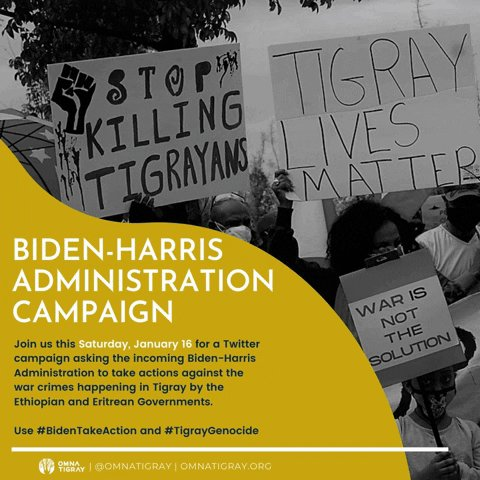 24 hour campaign using the hashtags #BidenTakeAction #TigrayGenocide  Let's be the voice for the voiceless millions in Tigray who are suffering under brutal occupation & weaponized starvation.  Let's do this! 💪🏾  💬@OmnaTigray  ➡️