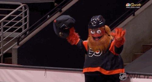 Travis Konecny @Enterprise hat trick!!! 🎩🎩🎩 #NHLFaceOff