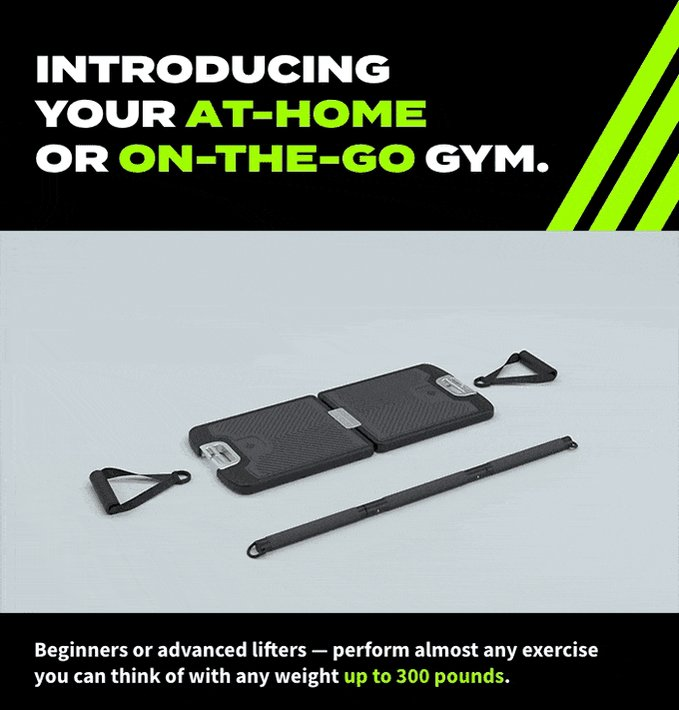 This foldable gym includes a base with custom resistance bands that can connect to handles or a bar with up to 300lbs of resistance click on this link  #OneNightInMiami #WandaVision  #SmackDown  #DragRace