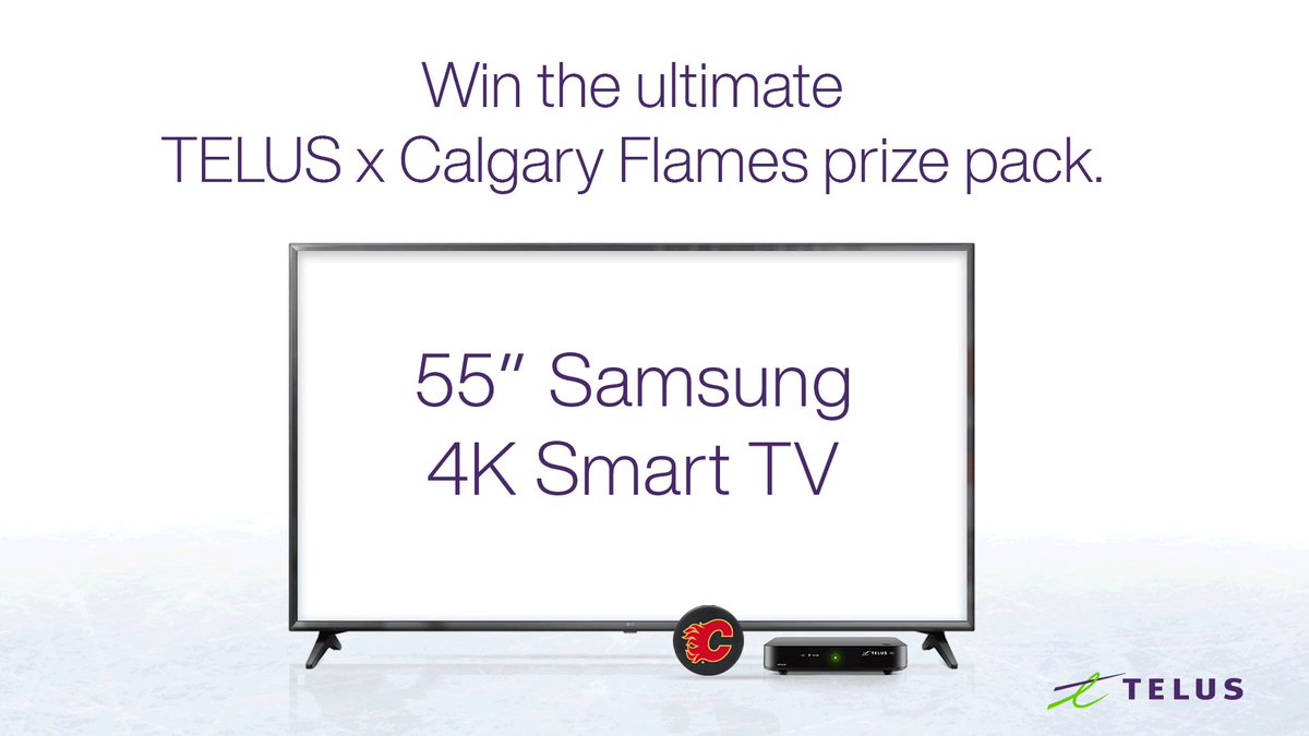 "🔥 Contest time 🔥   RT this post for a chance to win the ultimate #Flames prize pack, including a 55"" Samsung 4K Smart TV, 2 Flames jerseys, a $200 gift card from @skipthedishes and more, courtesy of our friends at @TELUS! Rules and regs:"