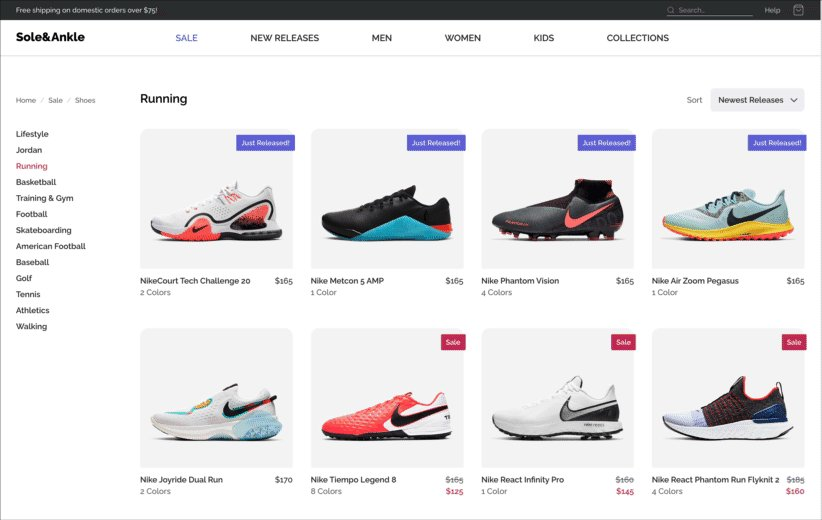 A screen recording of a sneaker store. It features the nav w