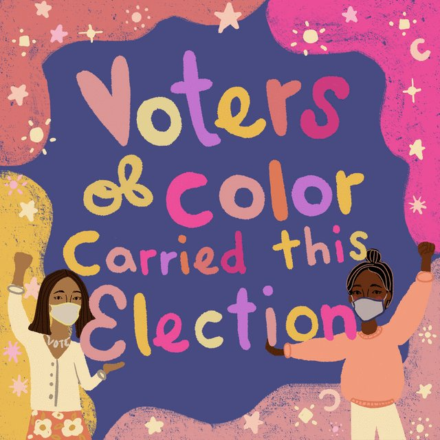 Your friendly reminder that voters of color decided the presidential election, Georgia's runoffs, AND the balance of the United States Senate.   We must continue to amplify their activism and their voices. ✨    🎨: @IntoActionUS
