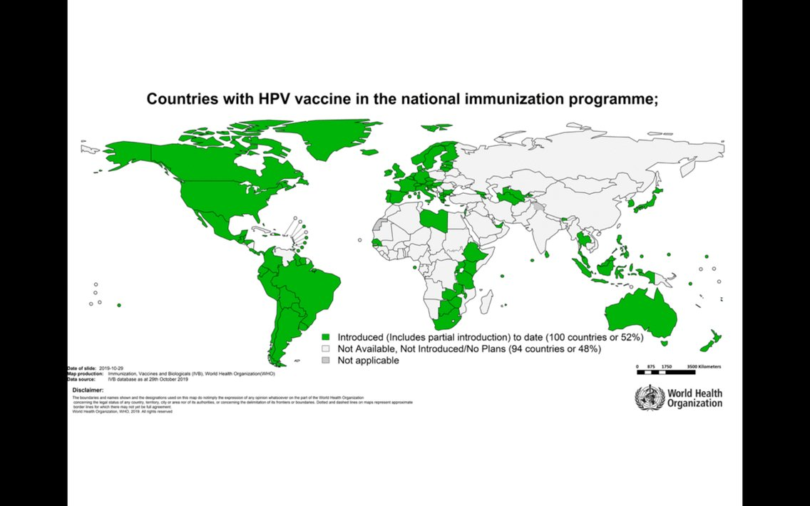 The #HPV vaccine is available in more than 100 countries around 🌎🌍🌏, helping to protect millions of girls against #CervicalCancer.  But it is still inaccessible to many in the poorest countries, where the vaccine is most needed 🚨.