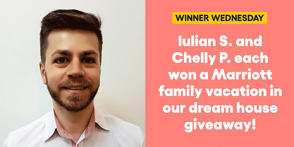 Iulian S. and Chelly P. each won a Marriott family vacation in our dream house giveaway! #omaze #omazetravels #omazewinners #winnerwednesday