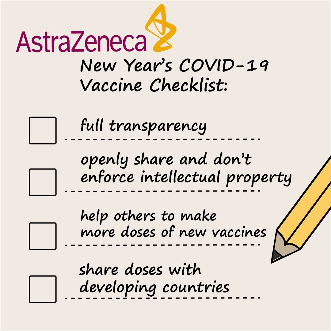 📝 Dear CEOs of @AstraZeneca, @JNJNews, @moderna_tx, @Novavax and @pfizer & @BioNTech_Group,   Will you add these ✅ to your New Year's resolutions and help end the #Covid19 pandemic for everyone, 🌍 EVERYWHERE?     #PeoplesVaccine #OneWorldProtected