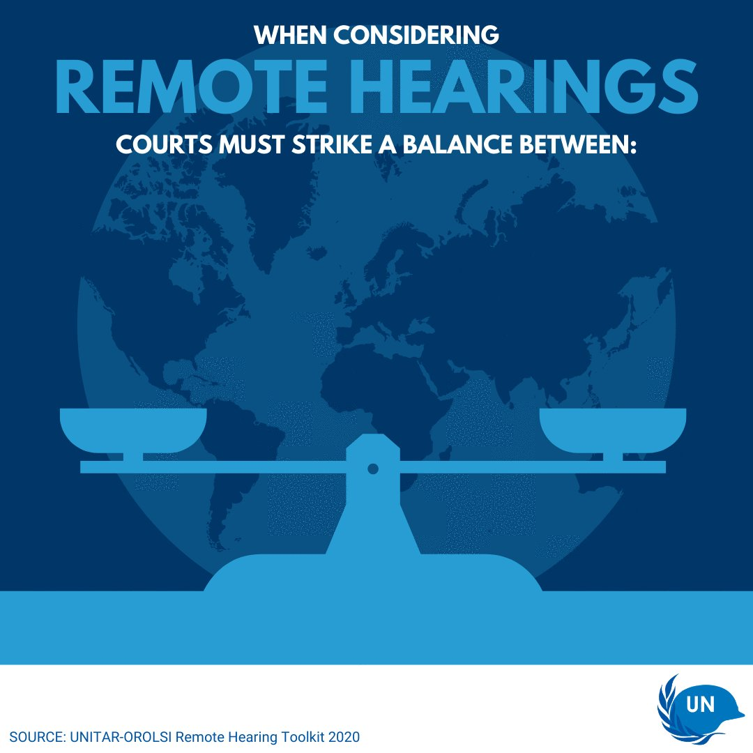 ⚖️ Courts using remote hearings must consider unique challenges. ⚖️ @UN_OROLSI