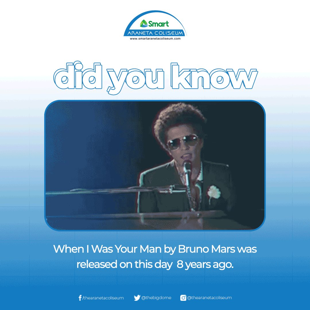 Too young, too dumb to realize That I should have bought you flowers And held your hand 🥺🎶  Did you know that When I Was Your Man by Bruno Mars was released on this day 8 years ago? ✨ #BigDomeFunFact #BrunoMars #SongOfTheDay #TheBigDome