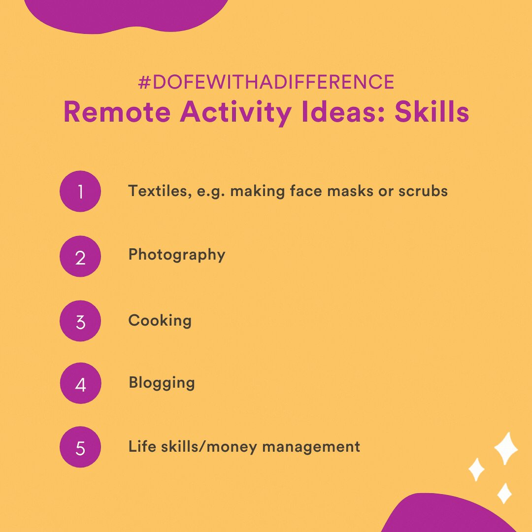 Your participants can still continue with their Skills section during lockdown, take a look at some of our fun and safe ideas. #DofEWithADifference  More here: https://t.co/agDOM44FCW