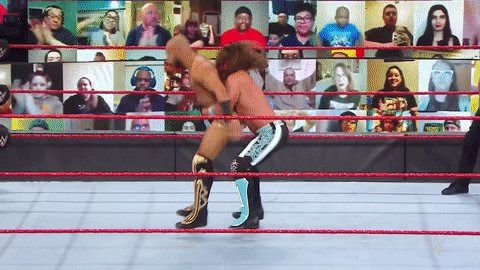 Cat-like reflexes from @KingRicochet!  #WWERaw