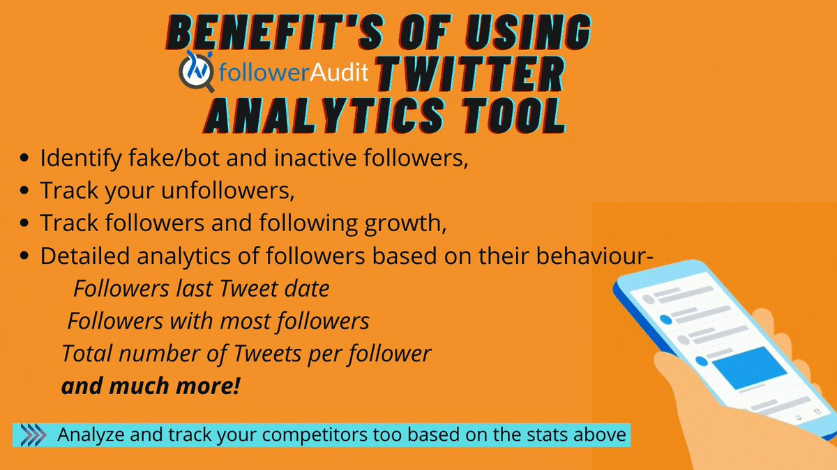 Benefit's of using Followeraudit's Twitter analytics tool 🙂  💡It will provide you your or any public Twitter accounts stats based on various stats which you won't get from inbuilt Twitter analytics.  Visit-   #twitteranalytics #twitterstats #TwitterTips