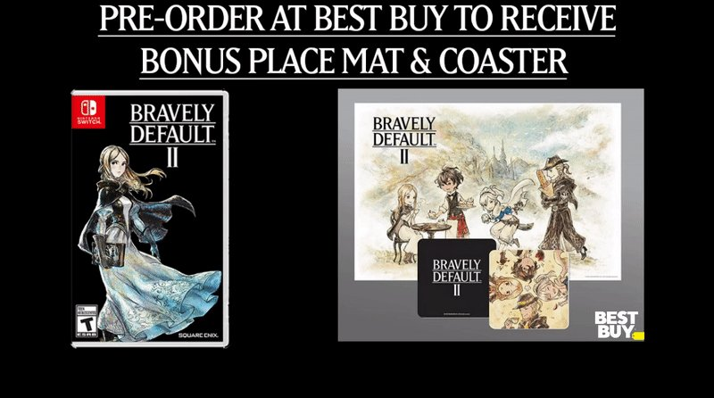 Pre-order Bravely Default II at Best Buy to receive a bonus place mat and coaster set.  All-new Heroes of Light are ready to save Excillant on 2/22!  Follow us & RT for a chance to win a $60 Best Buy Gift Card!  Ends 1/24 9PM EST. #sponsored