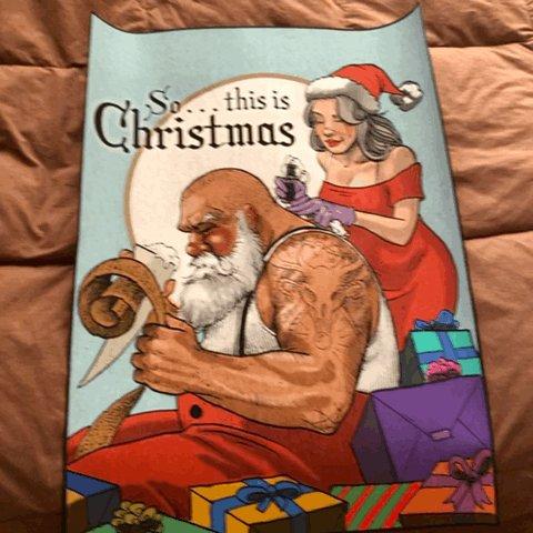 18NOV20 I'm in love with this print my buddy Jimmy sent me for Xmas. . . . #print #art #poster #santa #tattoo #santaclaus #xmas #happyholidays #merrychristmas #yule #solstice