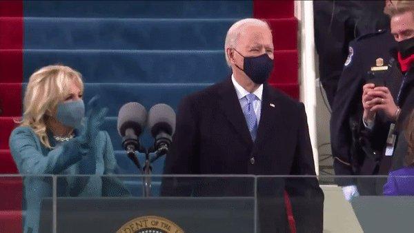 President-elect Joe Biden fist bumps former President Barack Obama on #InaugurationDay.