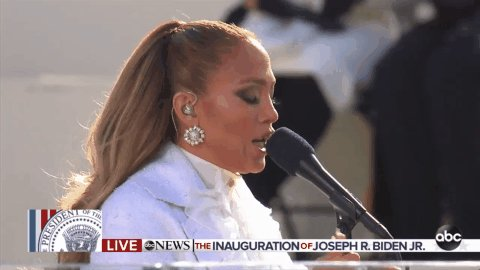 """🎶This land was made for you and me🎶  Jennifer Lopez arrives to perform """"This Land is Your Land"""" and """"America the Beautiful,"""" for #InaugurationDay."""