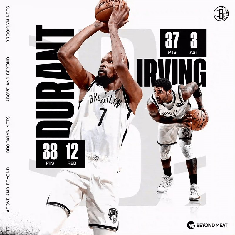 ▪️ @KyrieIrving drops 37 in his return and @KDTrey5 becomes the second Brooklyn Net ever with three-straight 30+ games  @BeyondMeat