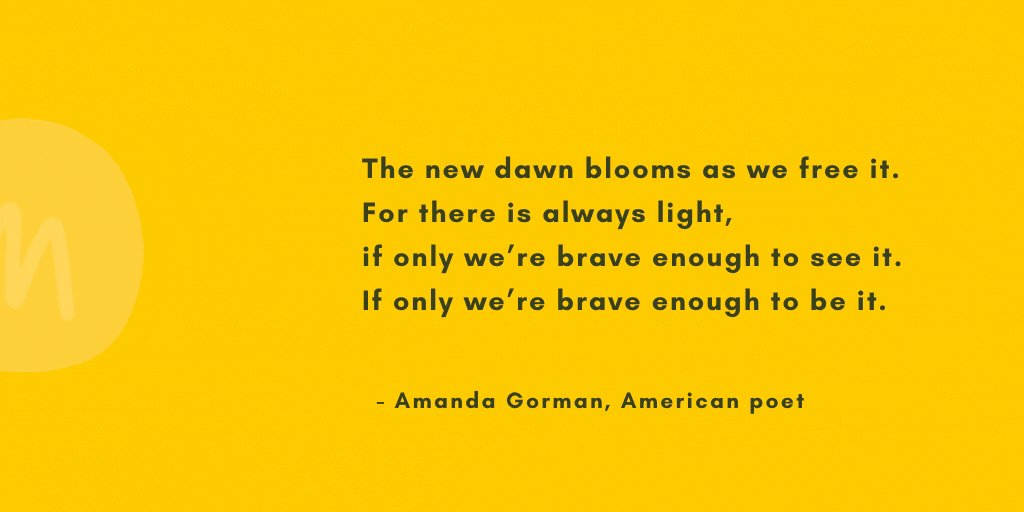 """Our #CommsPoliD #ThursdayMotivation: The amazing @TheAmandaGorman and her inspiring #InaugurationDay  poem: """"The Hill We Climb.""""   Give it a read. It will absolutely make your day, ."""