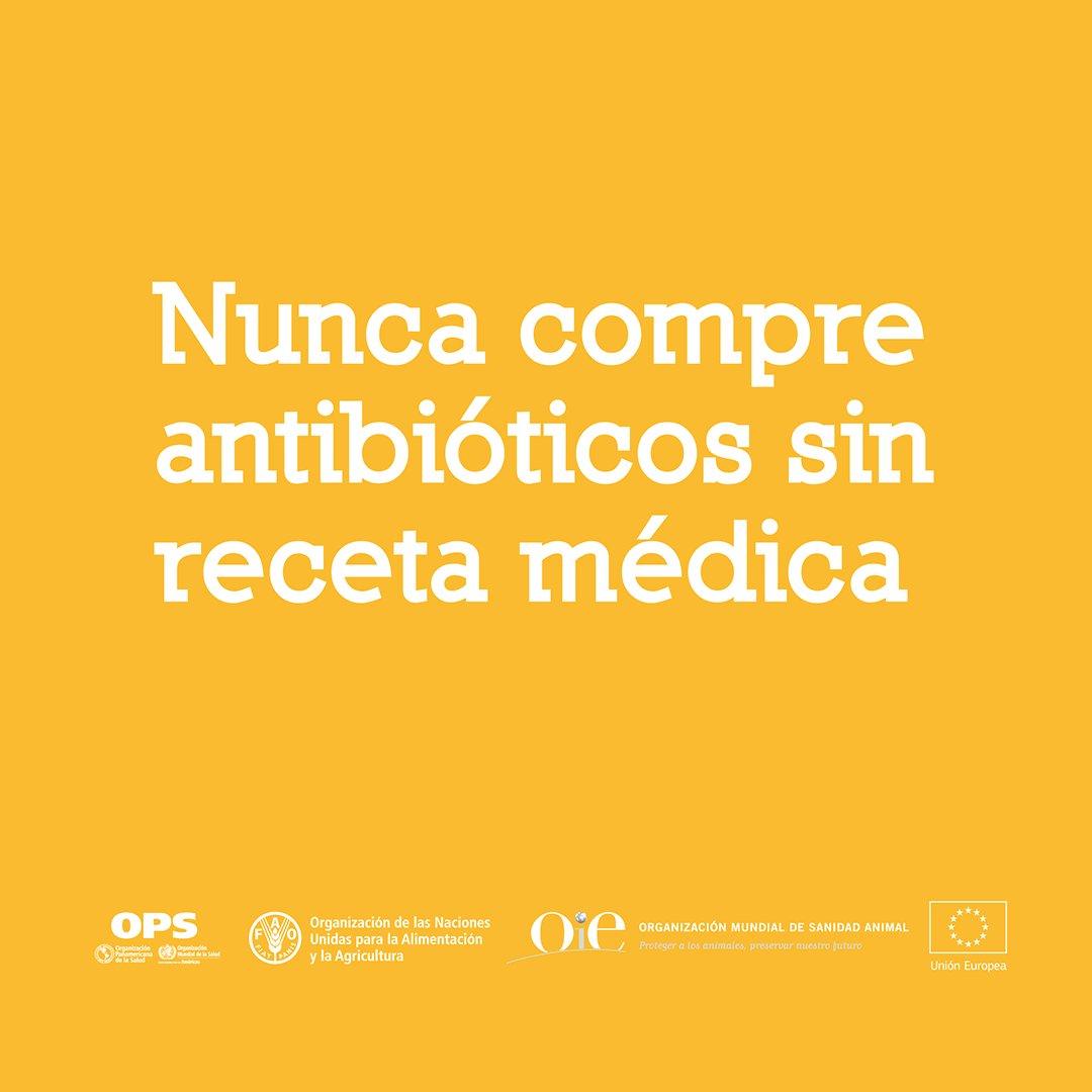 Nunca compre antibióticos sin receta médica. Consulte a un profesional de la salud calificado antes de tomar antibióticos.  #SaludParaTodos