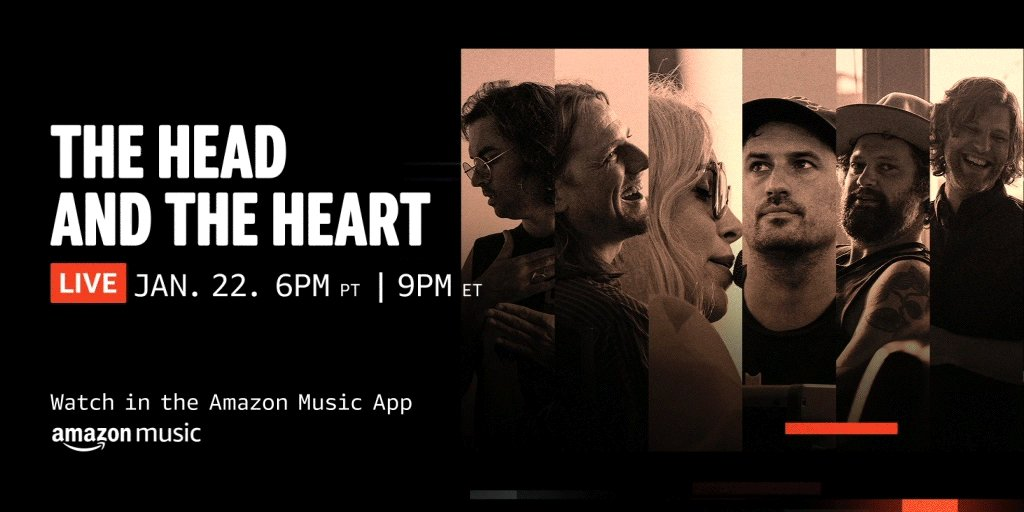 """Hang with the band and watch the premiere of @headandtheheart's new film """"Rivers and Roads: The Head And The Heart - Live from Pike Place Market"""" followed by a live Q&A moderated by @jaanuhelszki!   ➡️"""