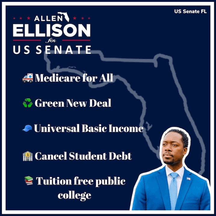 @AllenLEllison🔹is running for @USSenate #Florida against @marcorubio🔺'22! He's 💯grassroots #DownBallotProgressives! #NotMeUs #MedicareForAll #ThankfulThursday   📌Donate:  📌Volunteer:  📌Website: