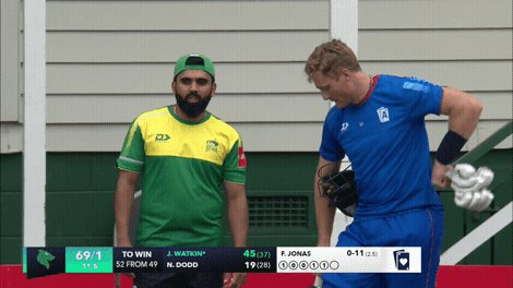 Couple of Suburbs New Lynn teammates getting ready for the second half of today's double-header. Ajaz Patel and Martin Guptill catching up ahead of @aucklandcricket's Aces taking on the @CentralStags. Follow play LIVE in NZ with @sparknzsport #SuperSmashNZ