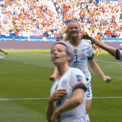 "The ""she's baaaackkkk"" after the Rapinoe goal was beautiful... chills #USAvCOL"