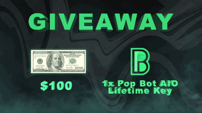 We are giving away 1 lifetime Pop Bot AIO key and $100 cash to one lucky winner 🥳🎁   To Enter: • Retweet this tweet • Follow @PopBotAIO   Ends in 24 hours ⏳
