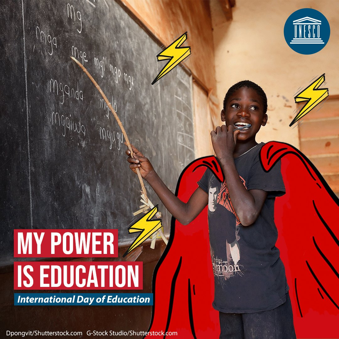 EDUCATION = POWER ⚡  January 24 is #EducationDay. Will you join @UNESCO to #PowerEducation for future generations? 🦸🏾‍♂️   🔗