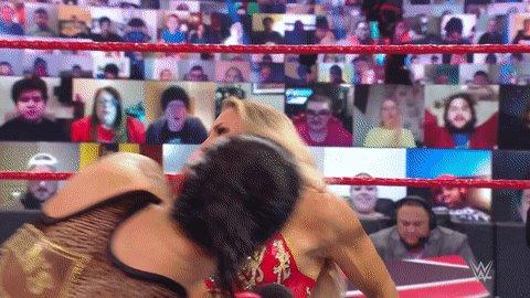 @NiaJaxWWE refuses to stand by and watch this battle go down!  #WWERaw @QoSBaszler @MsCharlotteWWE