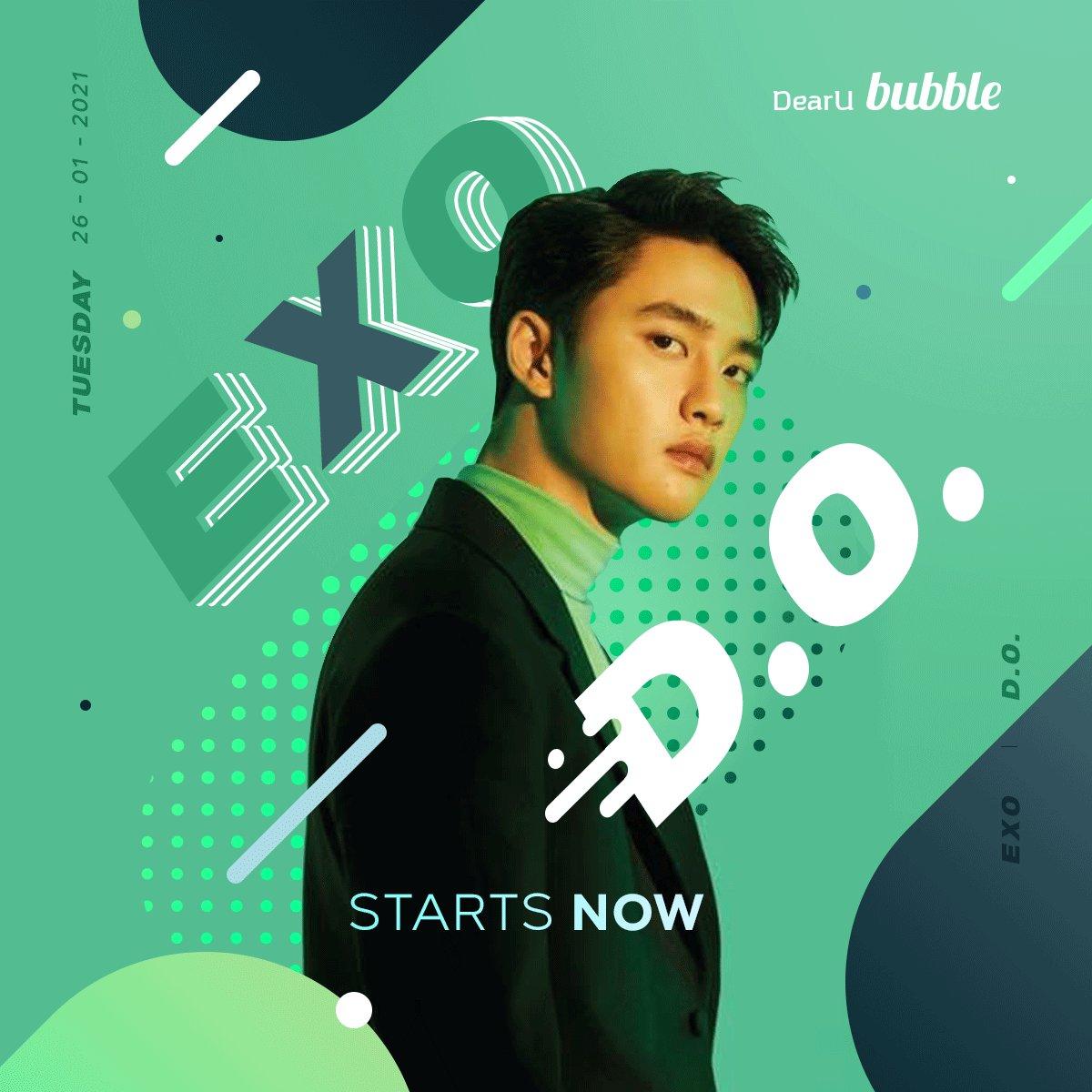 2021년 1월 26일 (KST), EXO D.O. bubble을 지금 시작합니다!  최애 아티스트와 나만의 특별한 프라이빗 메시지!  그 첫 번째 메시지를 놓치지 마세요😊  📱Android  📱iOS   #bubble #버블 #Lysn #리슨 #EXO #엑소 #DO #디오