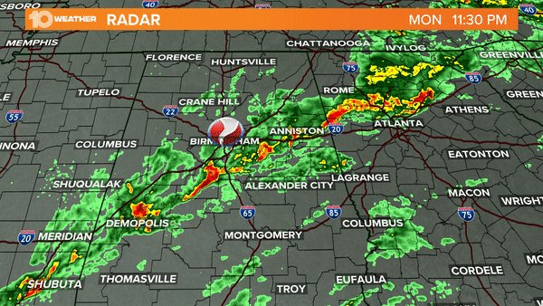 Radar loop showing the line of storms that produced the strong tornado just north of Birmingham, AL overnight. #alwx