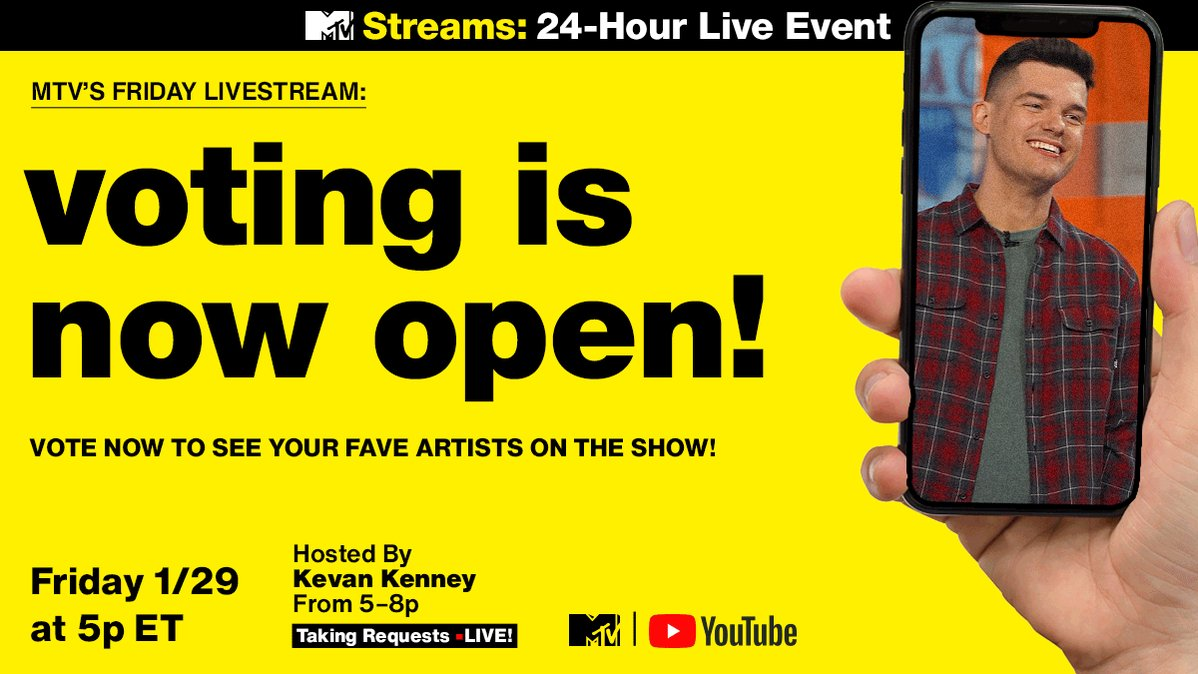 🚨 #FridayLivestream voting is NOW OPEN 🚨   1. Tweet 'REQUEST' [@ your favorite artist] to @MTV 2. Include #FridayLivestream  Tell @KevanKenney who you want featured! 👇