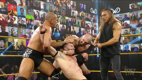 Look. Shrug. Break Fingers. Bail.  That's the @PeteDunneYxB way. #WWENXT @ONEYLORCAN @strongstylebrit @FinnBalor
