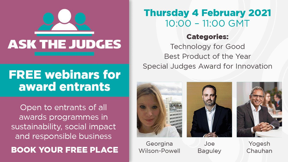 FREE webinars for #award entrants!  Ask experienced judges anything. Open to all orgs entering any #socialimpact #sustainability #CSR awards. 6 sessions run by @GlobalGoodAward focusing on multiple areas of #responsible #business. BOOK YOU PLACES NOW!