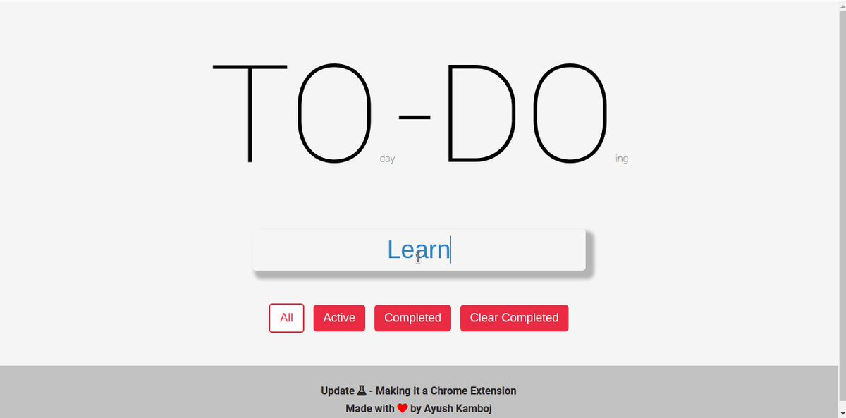 #Day68 - #Day75  Created a TO-DO List Applications based on HTML,CSS, JS and using localStorage    Learned how to create Chrome Extension & completed the basic JS module at @AltCampus 🔭✨📚 #100DaysofCode #altCampus #HTML5  #CSS #javascript  #CodeNewbie