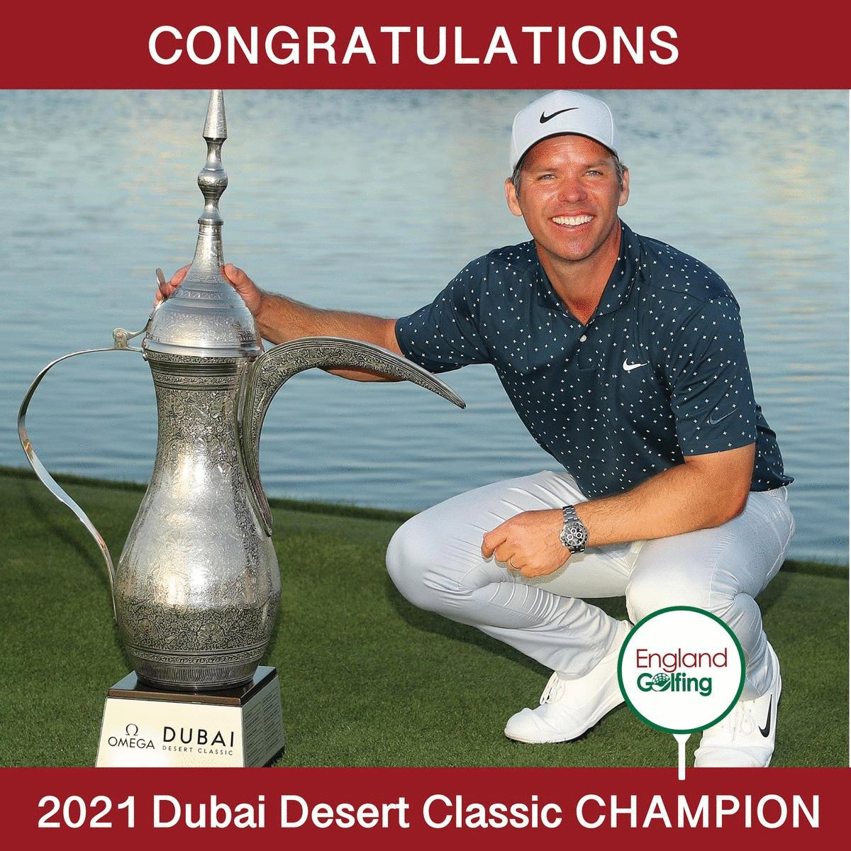 HUGE congratulations goes to Paul Casey  👏👏  Your 2021 Dubai Desert Classic CHAMPION 🏆  @Paul_Casey   @nikegolf   @TitleistEurope   @EuropeanTour   @OMEGAGolfDubai   @EmiratesGC   @visitdubai   #EuropeanTour #ODDC #MadeForGreatness #TimeToMakeHistory