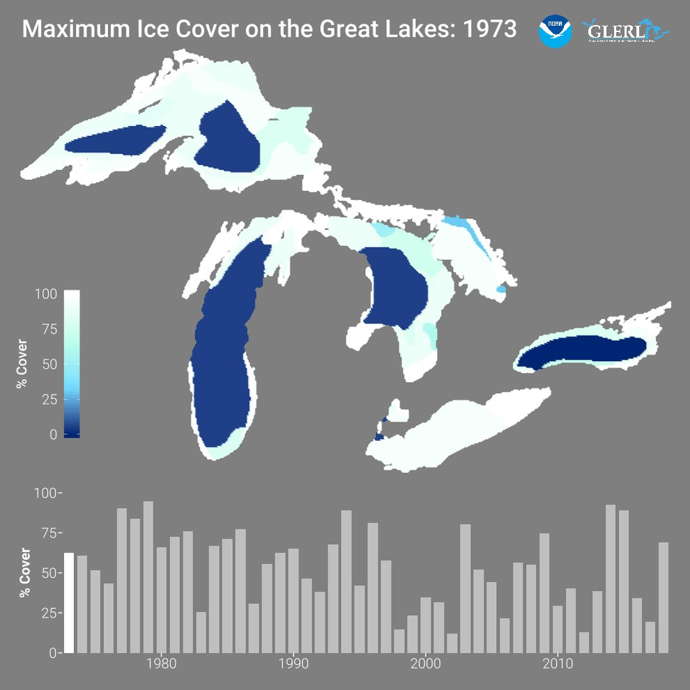Image for the Tweet beginning: Tracking ice coverage on the