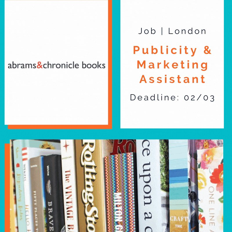 Calling all book lovers!📚  Leading publishing brand @AbramsChronicle are on the hunt for a Publicity & Marketing Assistant. Want to help run media campaigns? Want to gain essential publishing experience? Then apply by 02/03.  ➡️https://t.co/QTxOma7x7q  #CAOPPS https://t.co/qwq2WwQN7f