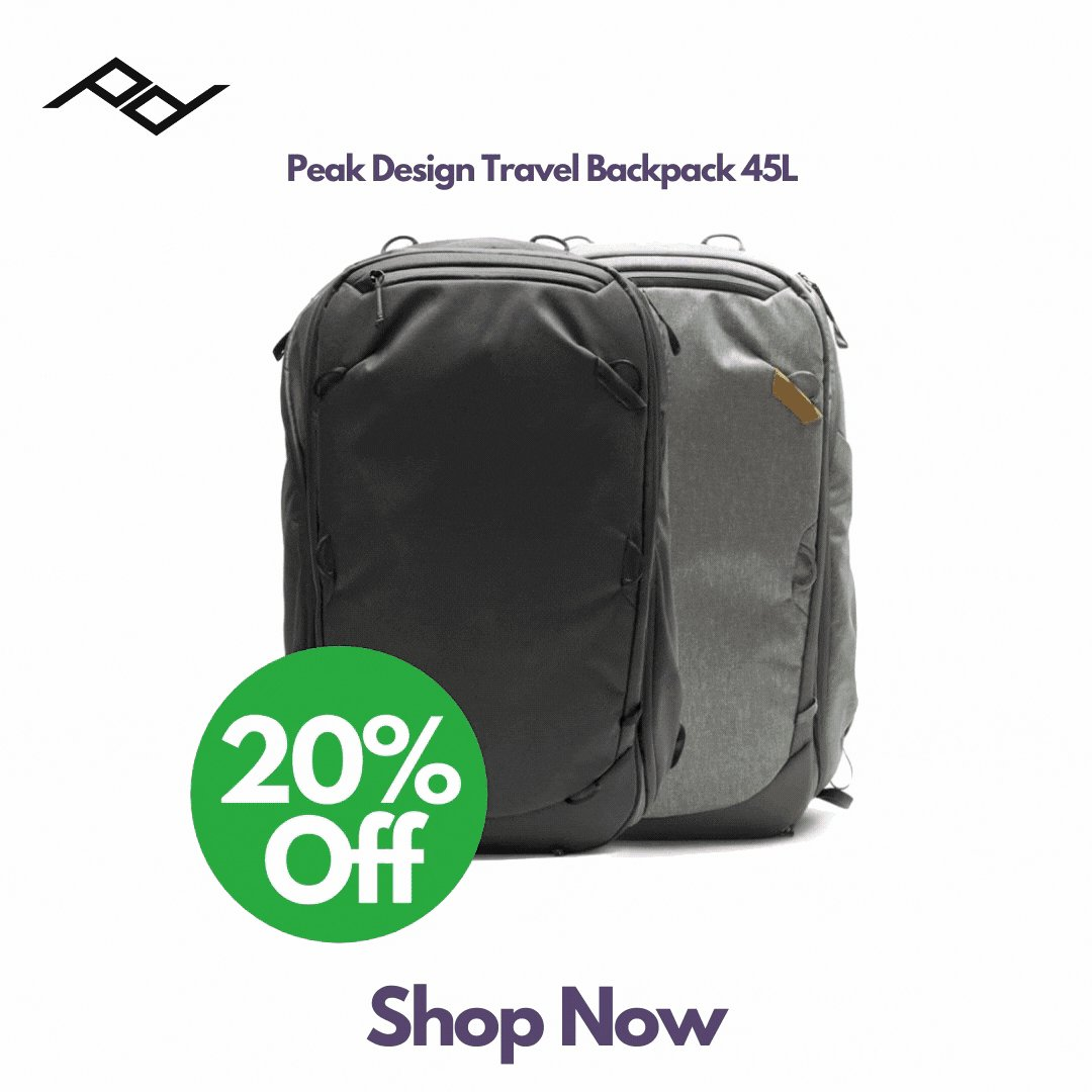 Save 20% Off Peak Design Travel Backpack 45L.   Its huge 45L capacity and thoughtfully placed access points are designed with complete travel convenience in mind.   Buy Now! https://t.co/he4CyX3qyG   @peakdesignltd #peakdesign #sales #photo #photography #videography #travel https://t.co/0f12K62pDM