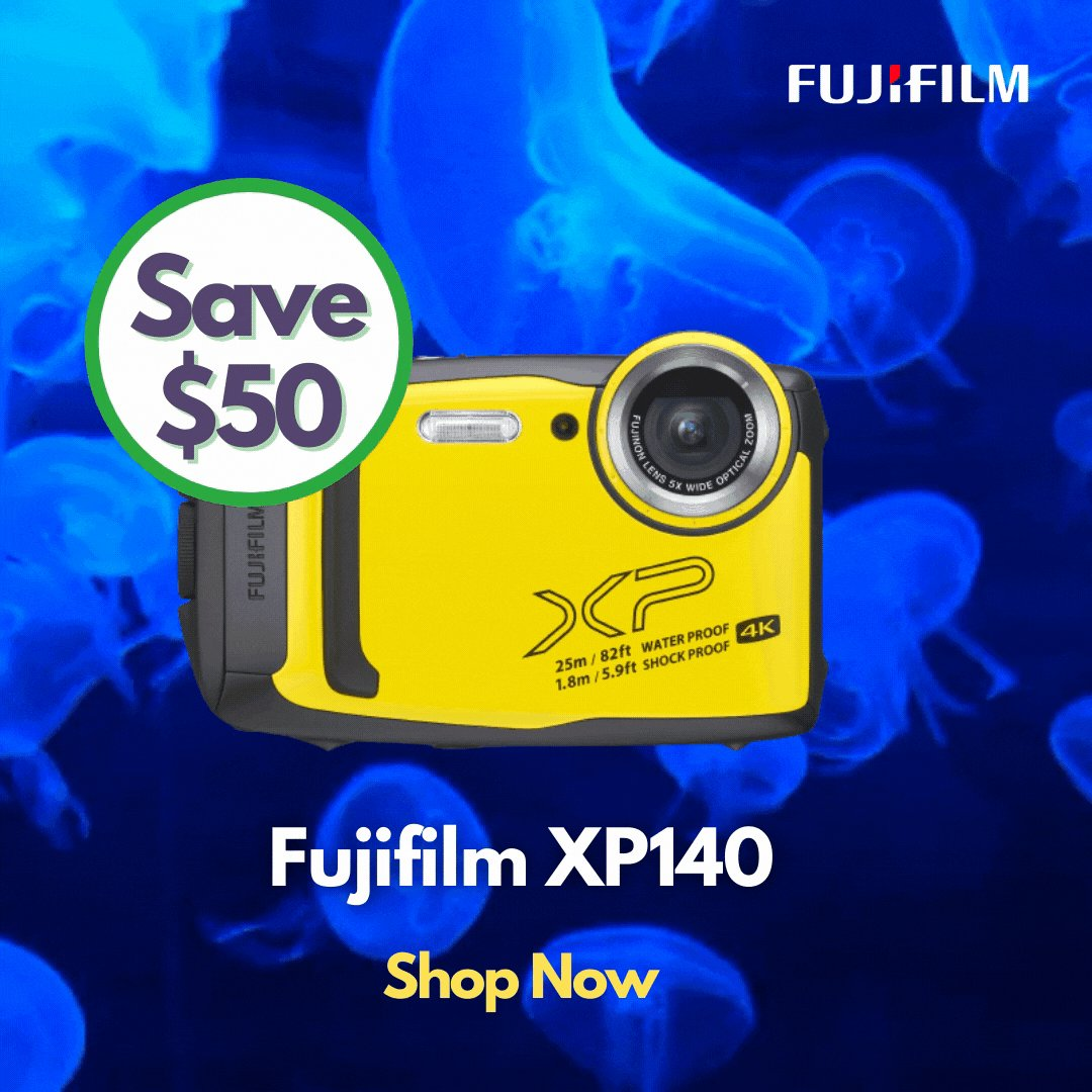 Save Over 15% Off Fujifilm XP140.   The Fujifilm XP140 is a waterproof, dustproof, shockproof, and freezeproof compact digital camera that you can take it with you anywhere on the planet.   Buy Now! https://t.co/BbDJxP2LkW   @FujifilmX_AU #underwater #sales #Promo #discount https://t.co/eorJlPImo7
