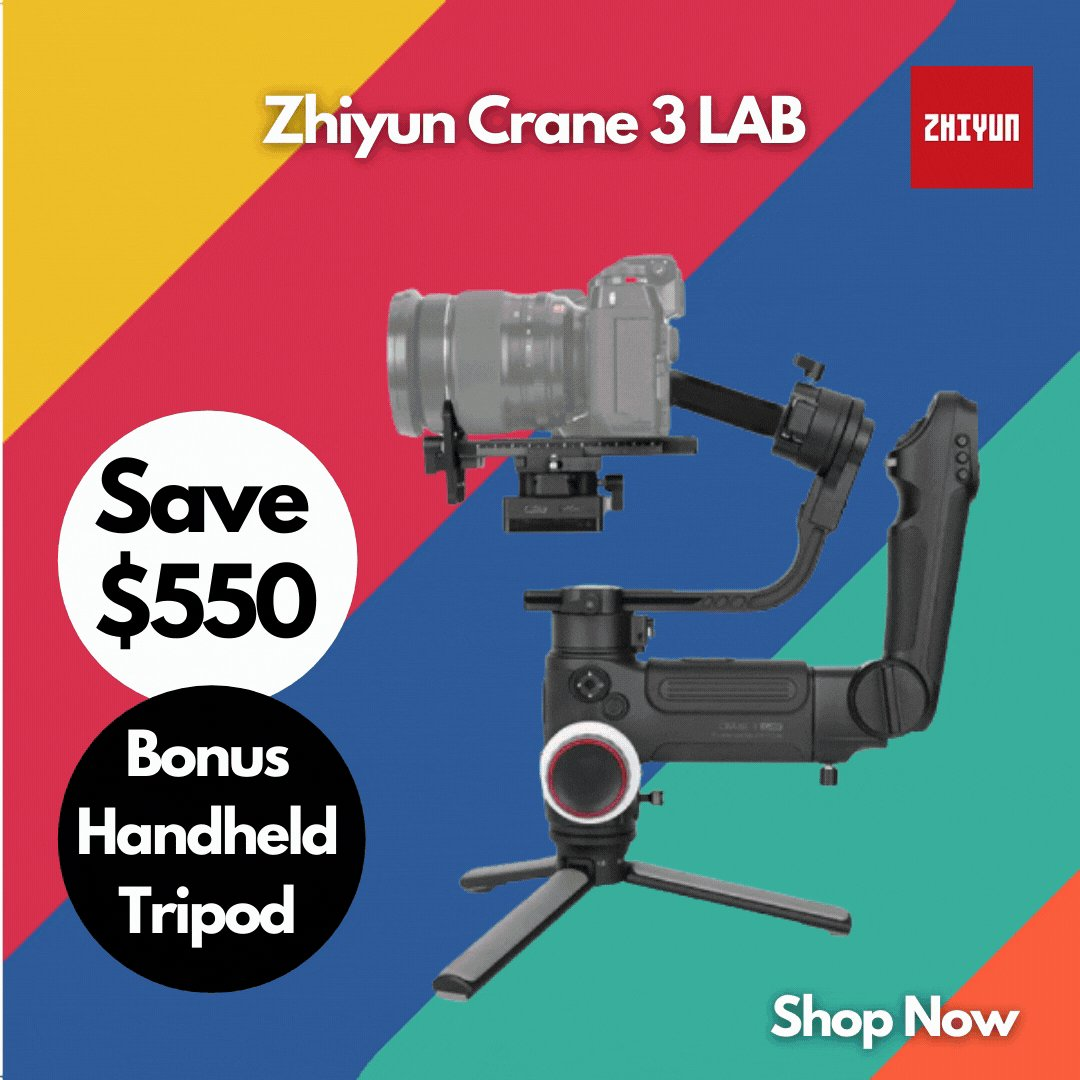 Save $550 on Zhiyun Crane 3 LAB Plus Bonus Handheld Tripod.   With supports for payloads up to 4.5kg, the Crane 3 LAB is suitable for a range of DSLR and entry-level cinema setups.   Buy Now! https://t.co/T4ijHXYR1p   @ZhiyunGlobal #gimbal #videography #Promo #Sales #Discounts https://t.co/4fALohmUFh