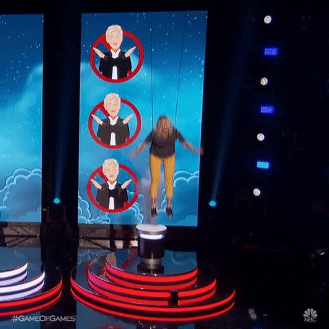 "Three wrong choices, repeated responses or instances where time previously runs out & its a skyward way out even one begs & pleads ""Don't Leave Me Hanging"", @TheEllenShow.  #GameofGames @nbcgameofgames"