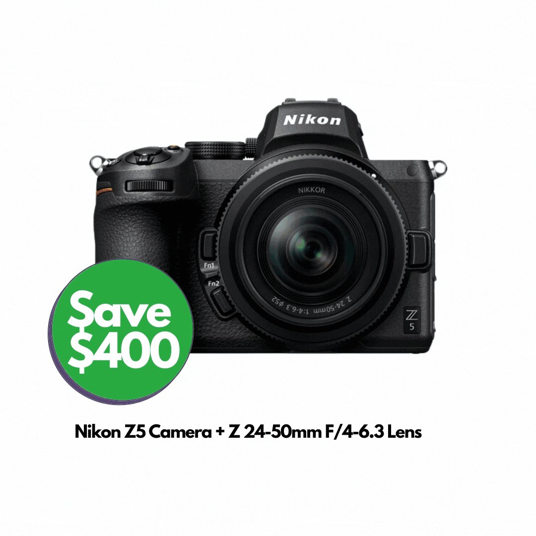 Save $400 Off Nikon Z5 Camera + Z 24-50mm F/4-6.3 Lens.   Great full-frame mirrorless kit with a great lens to start with.   Buy Now! https://t.co/a3IagmUaLm   @Nikon_Australia #nikon #camera #photography #Sales #Promo #discount #videographer https://t.co/Fu1w9uWMf1