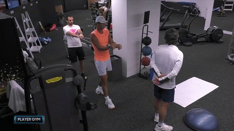 Monday moves.  @RafaelNadal hits the gym ahead of his meeting with Fabio Fognini this afternoon.  #AusOpen | #AO2021
