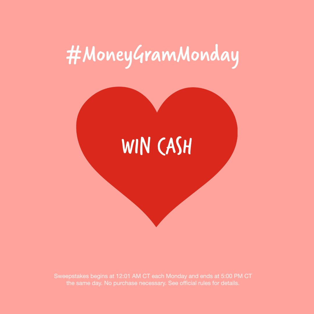 Be our Valentine? We're giving away 3❗ $250 prizes today, so RT and tag a friend for your chance to win! Be sure and #MoneyGramMonday with your reply! 🥰  Must be following to qualify. No purchase necessary. Void where prohibited.
