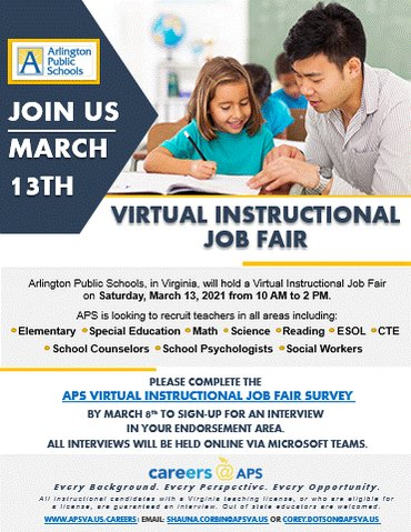 Sign up now to interview <a target='_blank' href='http://twitter.com/APSVirginia'>@APSVirginia</a> Virtual Instructional Job Fair on March 13th. Visit <a target='_blank' href='https://t.co/XTpK2FsdpF'>https://t.co/XTpK2FsdpF</a> to sign up! <a target='_blank' href='https://t.co/VTMVbJHtH0'>https://t.co/VTMVbJHtH0</a>