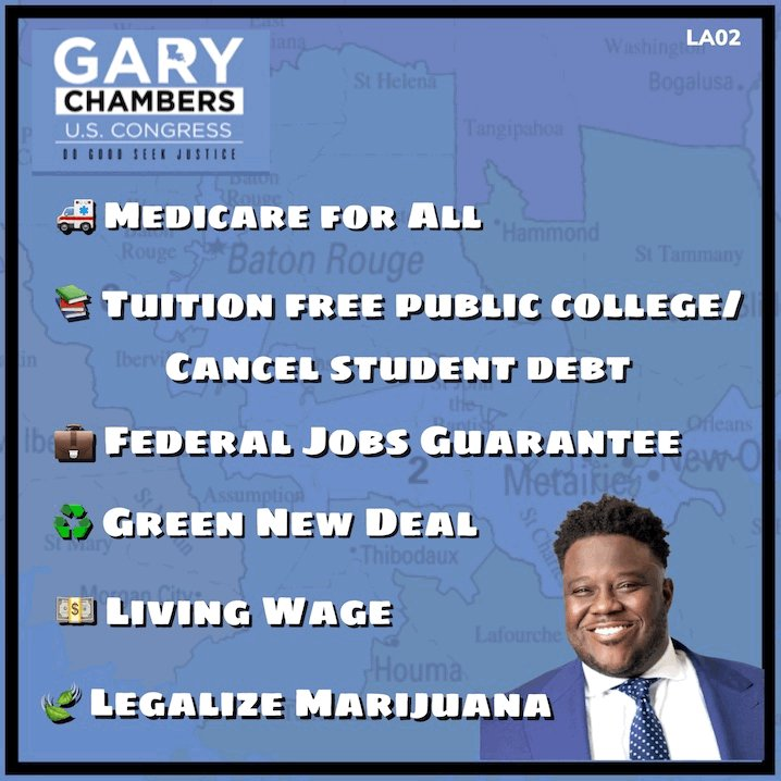 @GaryChambersJr🔹is running for #LA02 which is an open seat as @RepRichmond🔹vacates it. He's 💯grassroots and will fight for someone he doesnt even know #NotMeUs #MedicareForAll  📌Donate:  📌Volunteer:
